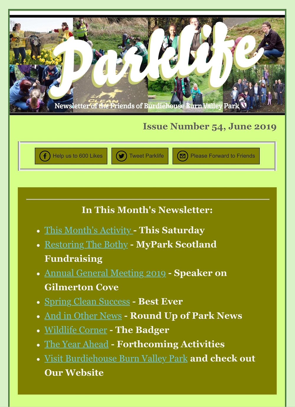 Our latest newsletter. Activity Update, AGM Information and news from the 'Big Spring Clean'.