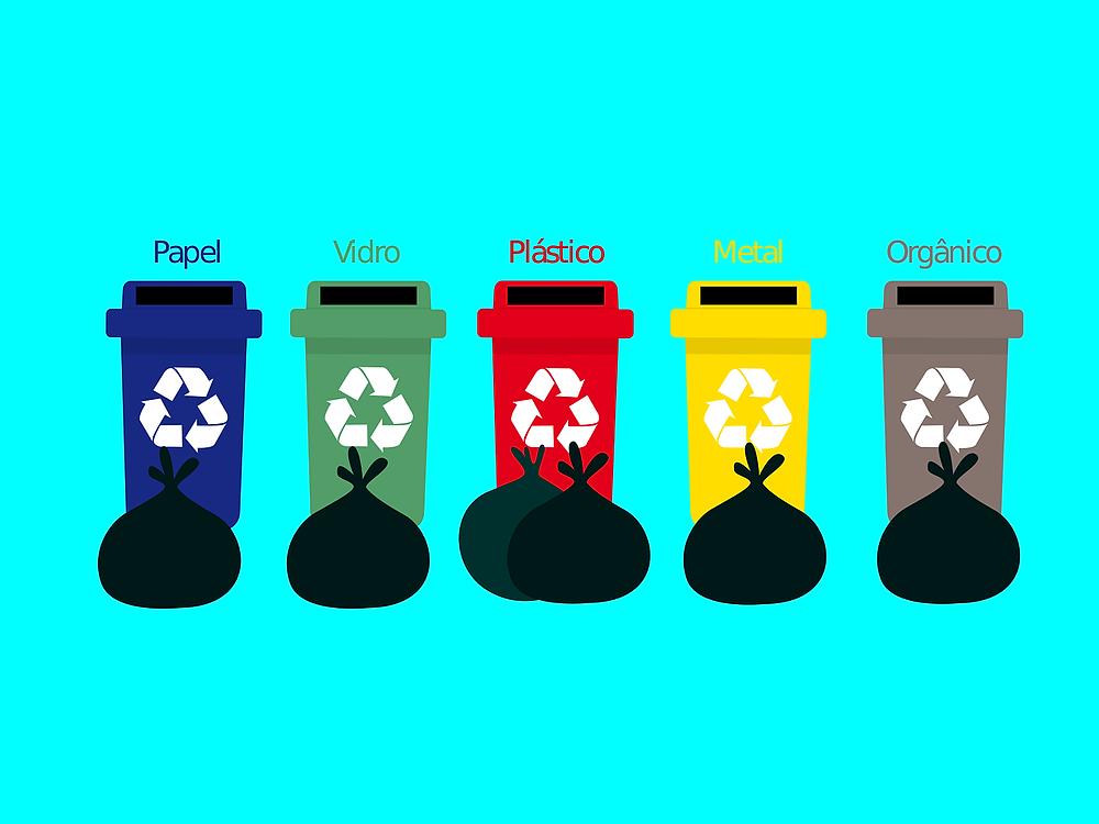 Depósitos coloridos de reciclagem