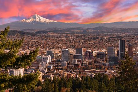 Sunrise View of Portland, Oregon from Pi