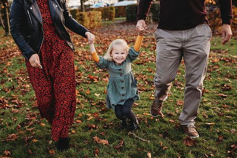 Family photo shoot cavan little girl and parents in autumn