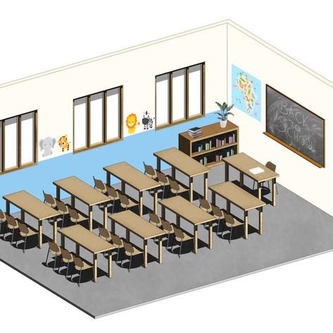 Render 3D de una de las aulas previstas en el proyecto VCRO Nursery School de Kigoma