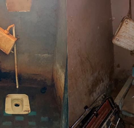 Estado actual de los aseos de los módulos dormitorio existentes del KPCS de Kabanga, Kigoma