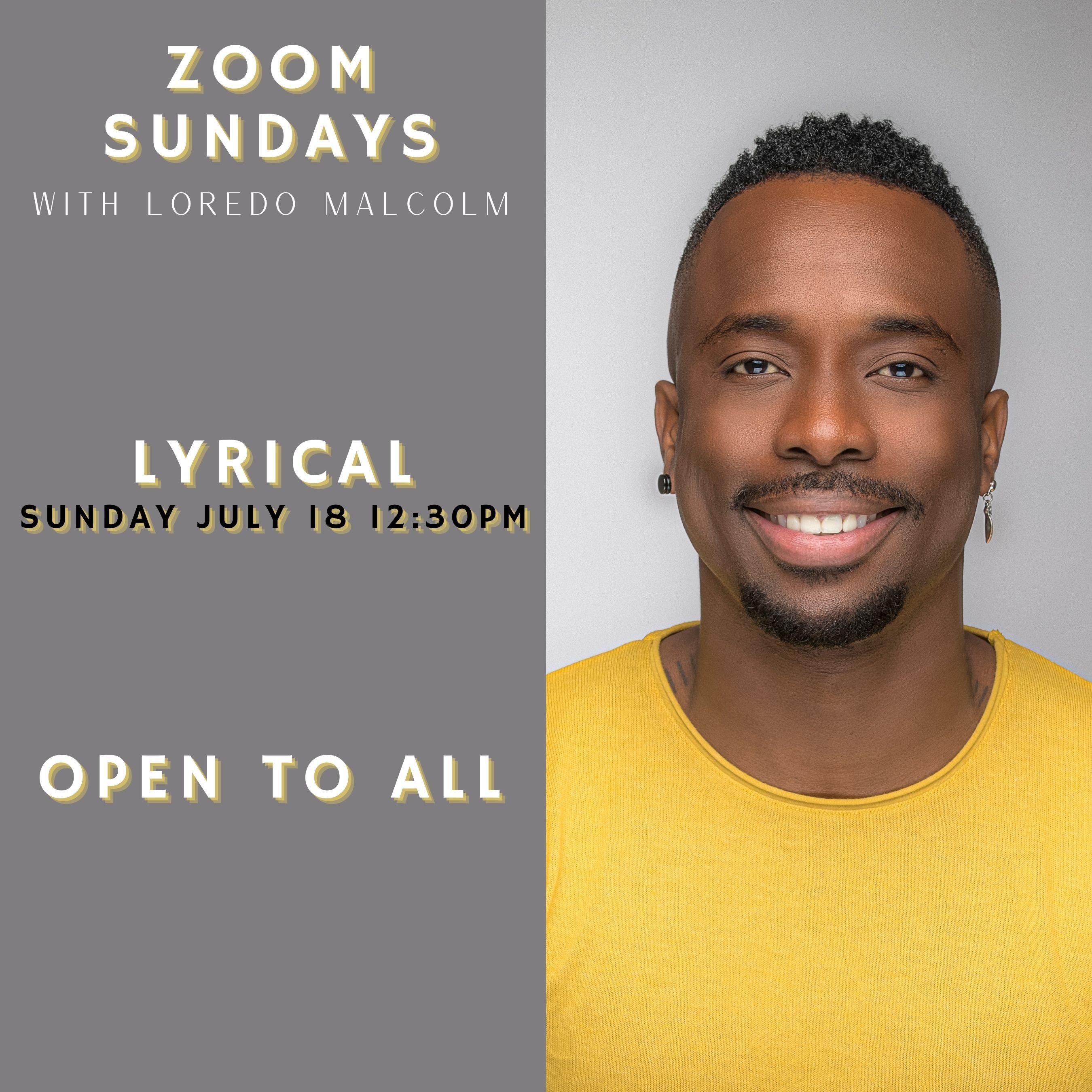 Zoom Sunday Lyrical July 18th 12:30PM