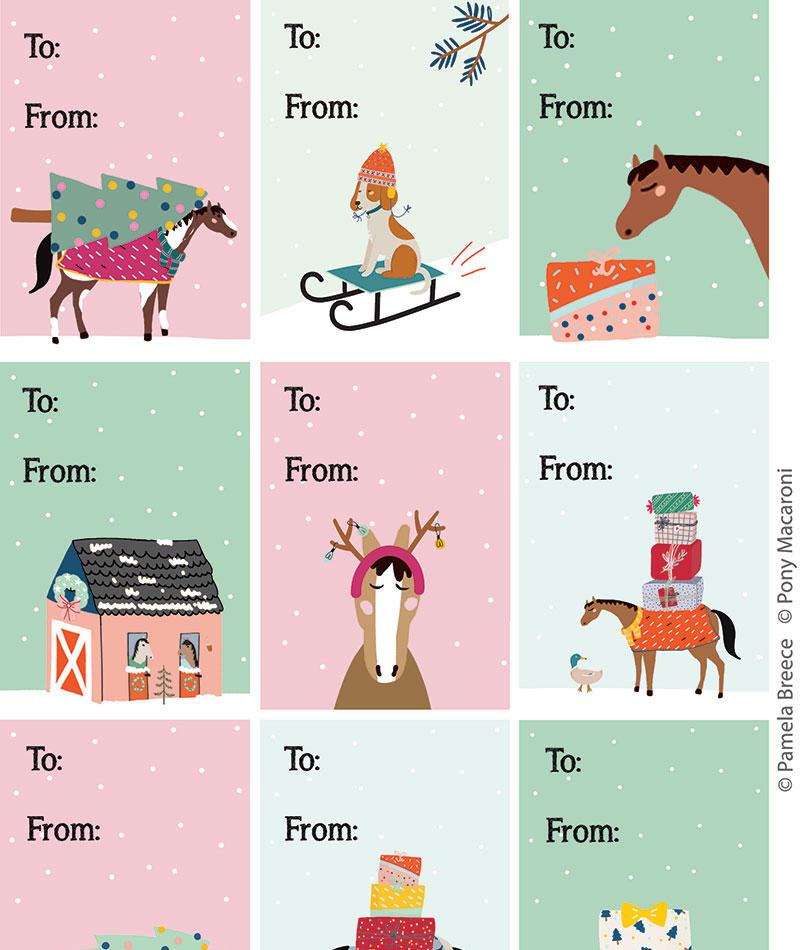 Pony Macaroni Christmas Gift Tags