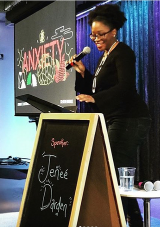 Audiences have a good time when Jenee takes the stage to deliver a speech.