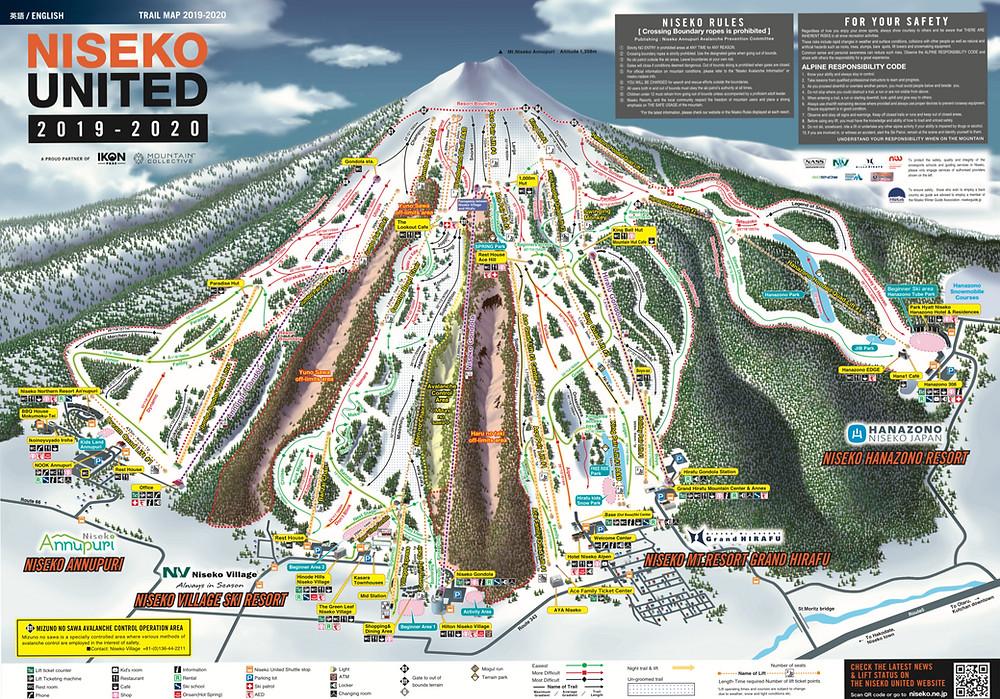 Niseko United Trail map 2019-20