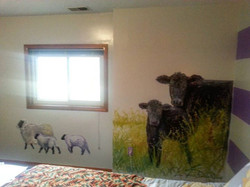 Sheep and greenery. ..added...to farm mural..