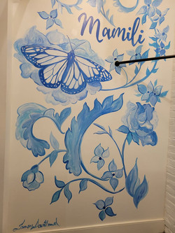 Dressing room mural in Boutique
