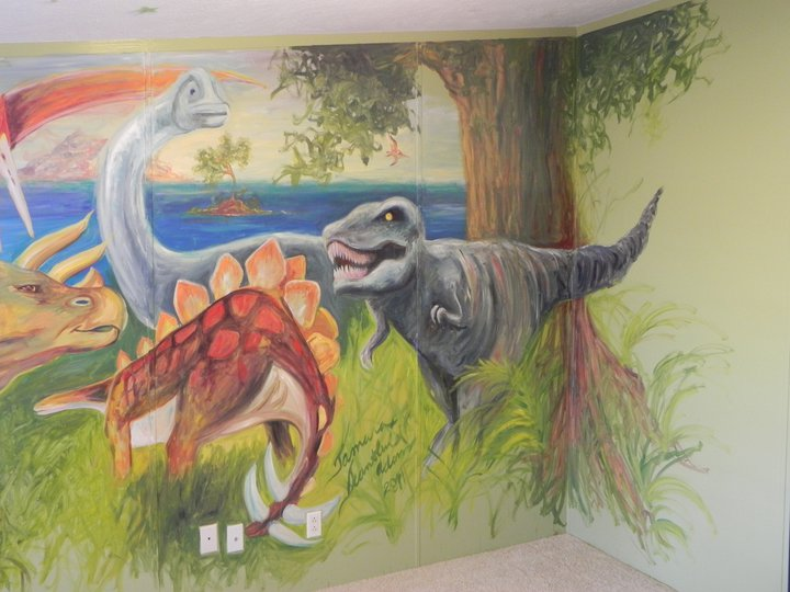 Dinosauers Mural in Boys Room
