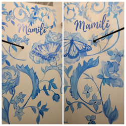 Two dressing room murals