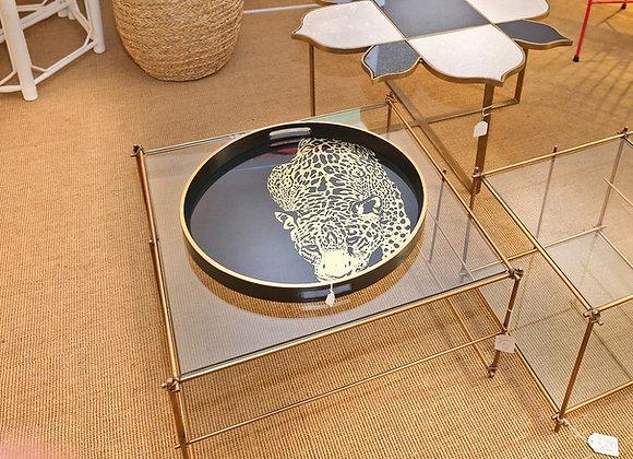 Tavolino in metallo ottonato e vetro