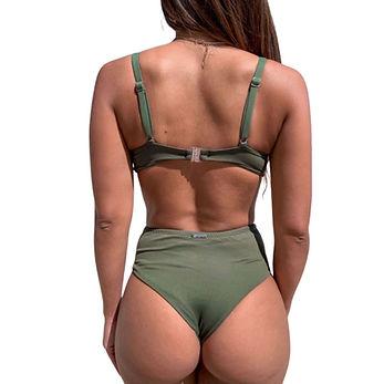 biquíni cintura alta verde militar