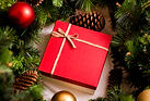 Red luxury New Year gift. Christmas gift