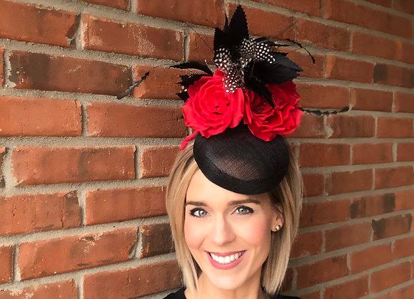 Black red Kentucky Derby fascinator hat Kentucky Oaks Thurby Racing Fashion Steeplechase headpiece feather silk flower