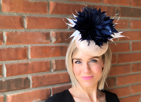 natural white navy Kentucky Derby fascinator hat Kentucky Oaks Thurby Racing Fashion Steeplechase headpiece feather hatinator
