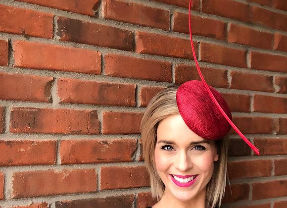 Red Kentucky Derby fascinator hat Kentucky Oaks Thurby Racing Fashion Steeplechase headpiece feather silk flower sinamay