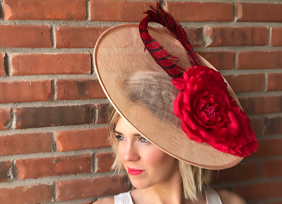 red natural hatinator Kentucky Derby fascinator hat Kentucky Oaks Thurby Racing Fashion Steeplechase headpiece feather