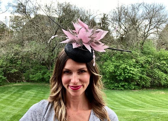 Black pink Kentucky Derby fascinator hat Kentucky Oaks Thurby Racing Fashion Steeplechase headpiece feather silk flower