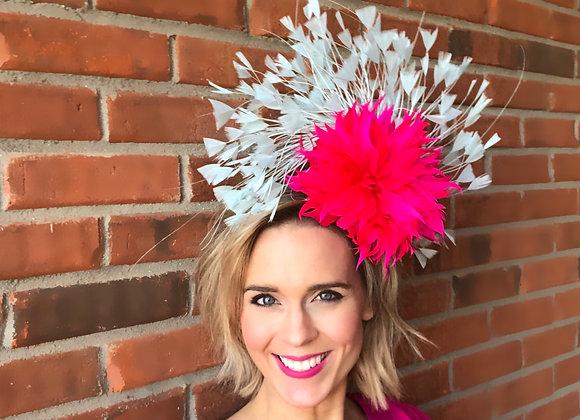 Pink blue Kentucky Derby fascinator hat Kentucky Oaks Thurby Racing Fashion Steeplechase headpiece feather silk flower