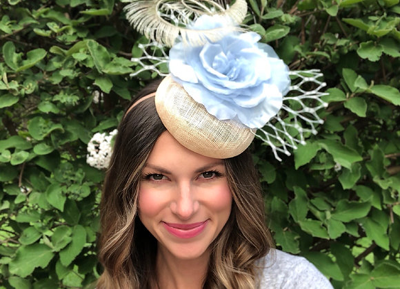 blue ivory natural Kentucky Derby fascinator hat Kentucky Oaks Thurby Racing Fashion Steeplechase headpiece feather flower