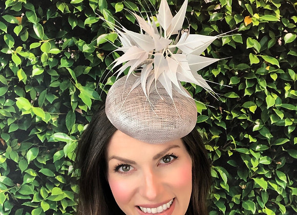 grey gray Kentucky Derby fascinator hat Kentucky Oaks Thurby Racing Fashion Steeplechase headpiece feather sinamay percher