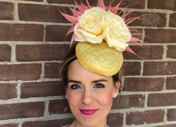 yellow coral Kentucky Derby fascinator hat Kentucky Oaks Thurby Racing Fashion Steeplechase headpiece feather silk flower