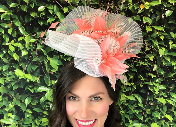 coral Kentucky Derby fascinator hat Kentucky Oaks Thurby Racing Fashion Steeplechase headpiece feather silk flower sinamay