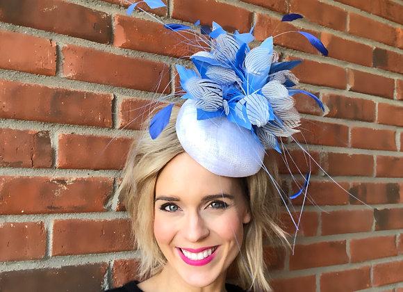 blue white Kentucky Derby fascinator hat Kentucky Oaks Thurby Racing Fashion Steeplechase headpiece feather silk flower
