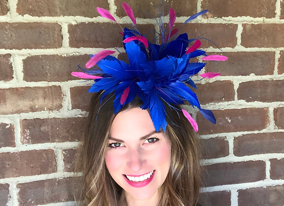 cobalt blue pink Kentucky Derby fascinator hat Kentucky Oaks Thurby Racing Fashion Steeplechase headpiece feather silk flower
