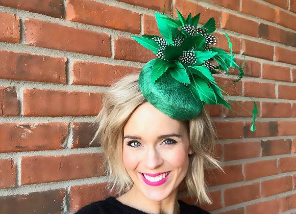 green Kentucky Derby Fascinator feather hat Oaks Thurby Shop Race Fashion