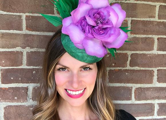 purple green Kentucky Derby fascinator hat Kentucky Oaks Thurby Racing Fashion Steeplechase headpiece feather silk flower