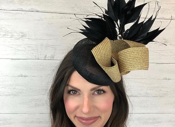 Black gold Kentucky Derby fascinator hat Kentucky Oaks Thurby Racing Fashion Steeplechase headpiece feather silk flower