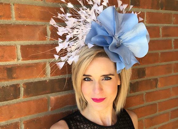 blue white Kentucky Derby fascinator hat Kentucky Oaks Thurby Racing Fashion headpiece what to wear Louisville