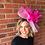 hot pink Kentucky Derby fascinator hat Kentucky Oaks Thurby Racing Fashion Steeplechase headpiece feather silk flower sinamay