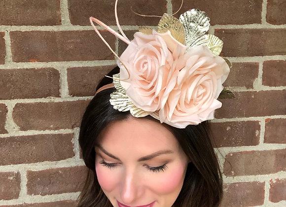 Blush pink gold Kentucky Derby fascinator hat Kentucky Oaks Thurby Racing Fashion Steeplechase headpiece feather silk flower