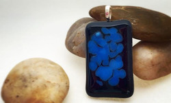 Fused glass pendant. Onyx & Periwinkle. Sterling Silver bail