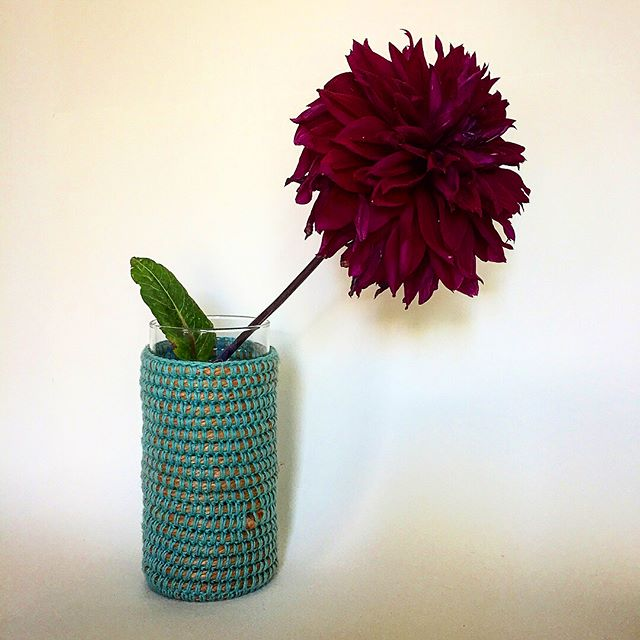 Crocheted Cozy for wine or vase of spring flowers.  Find on Etsy