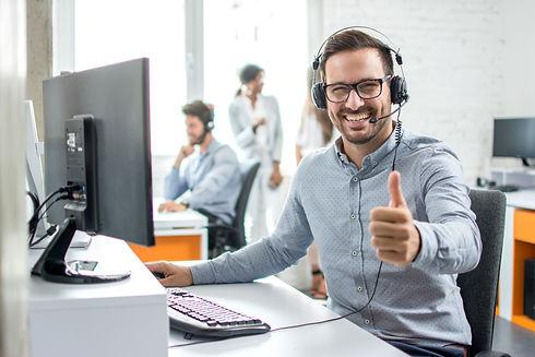 Happy male customer service operator sho