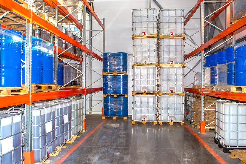 Chemicals in barrels. The metal barrels