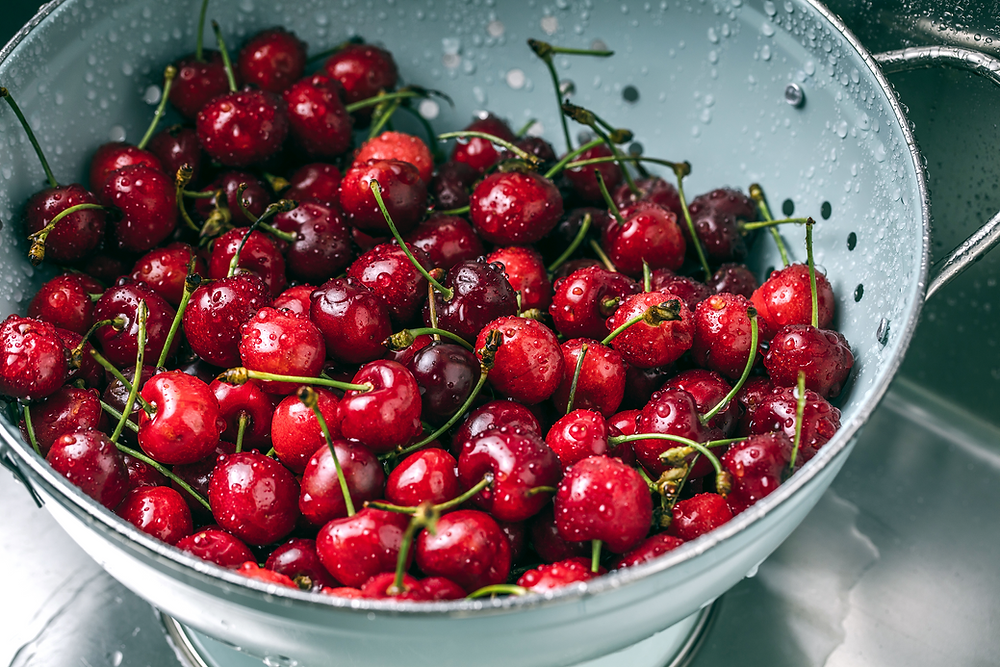 freshly washed cherries