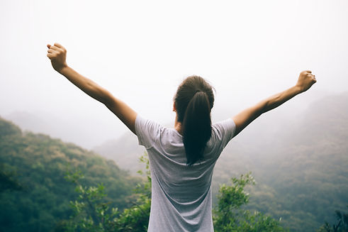 Happy Woman outstretched arms
