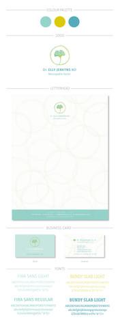 Dr. Elly Jenkyns - Brandboard, new logo on letterhead and business cards