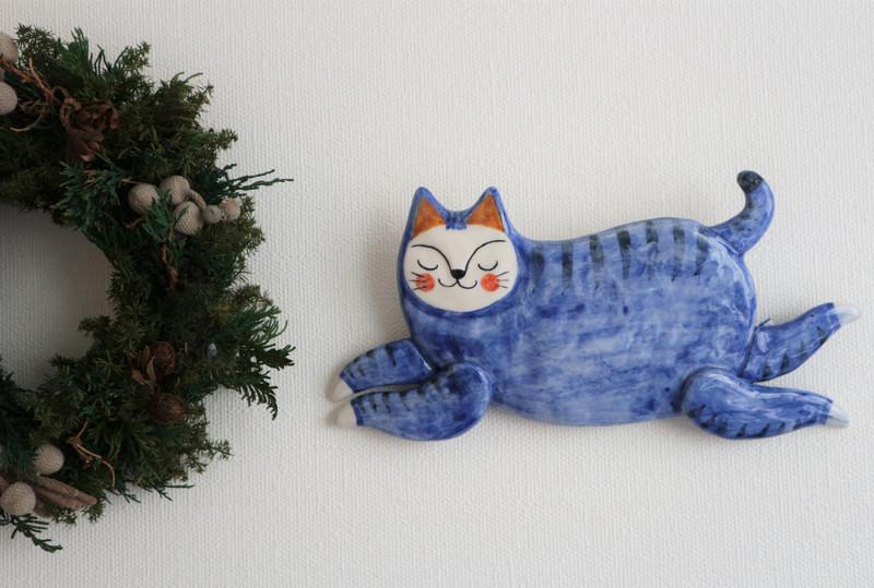 壁掛け 飛び猫 ( 青 )