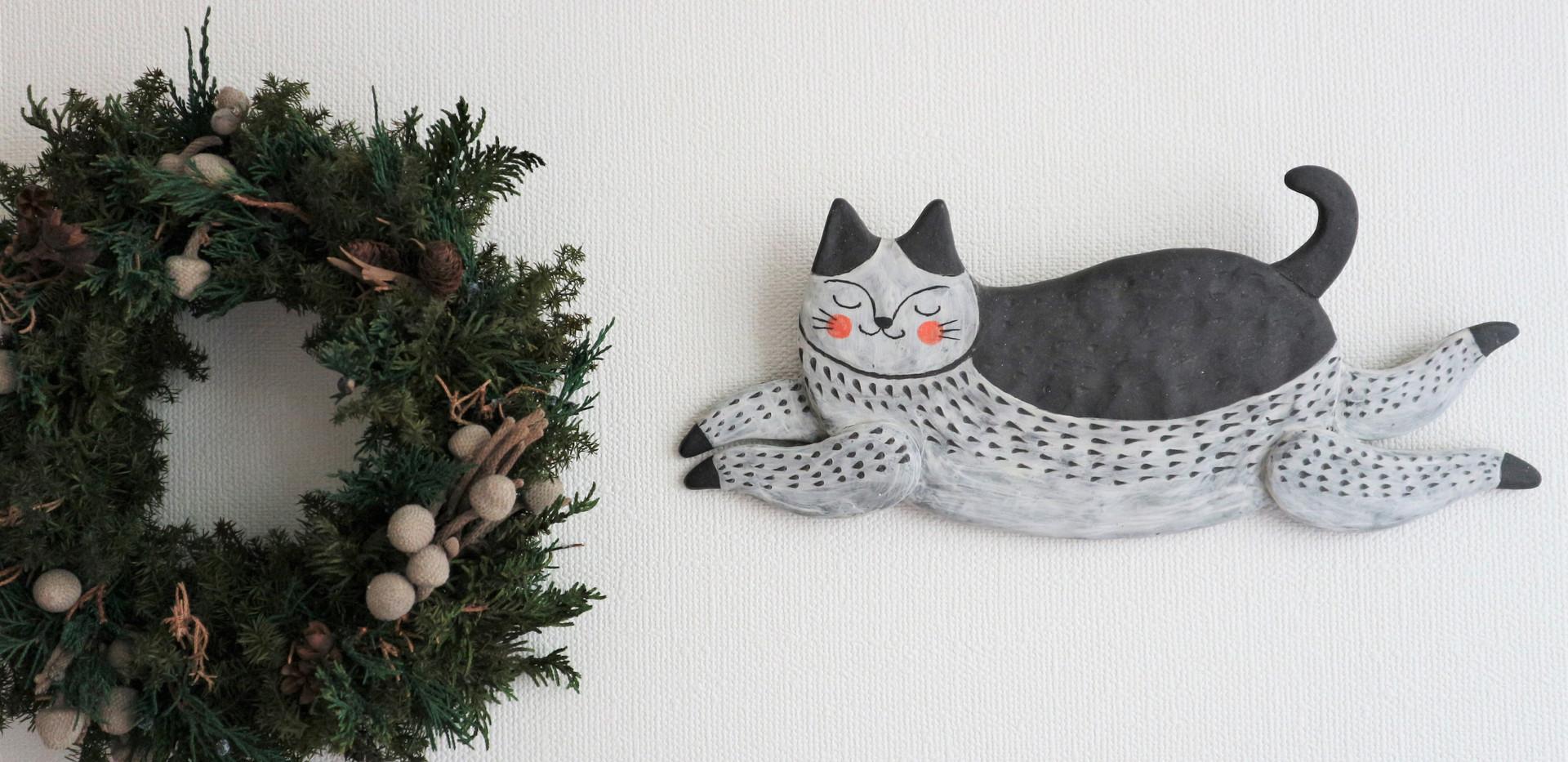 壁掛け 飛び猫 ( 黒 )