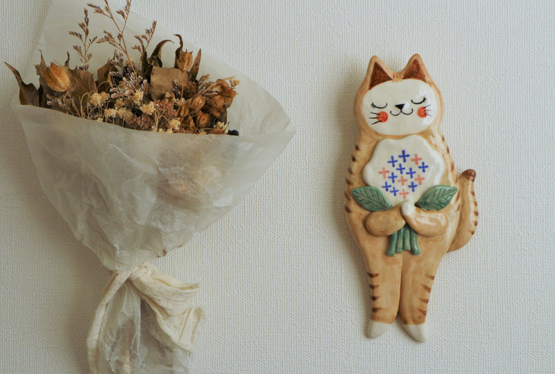 壁掛け 花束ねこ