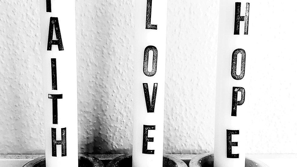 Kerzenset faith love hope paraffin und palmölfrei