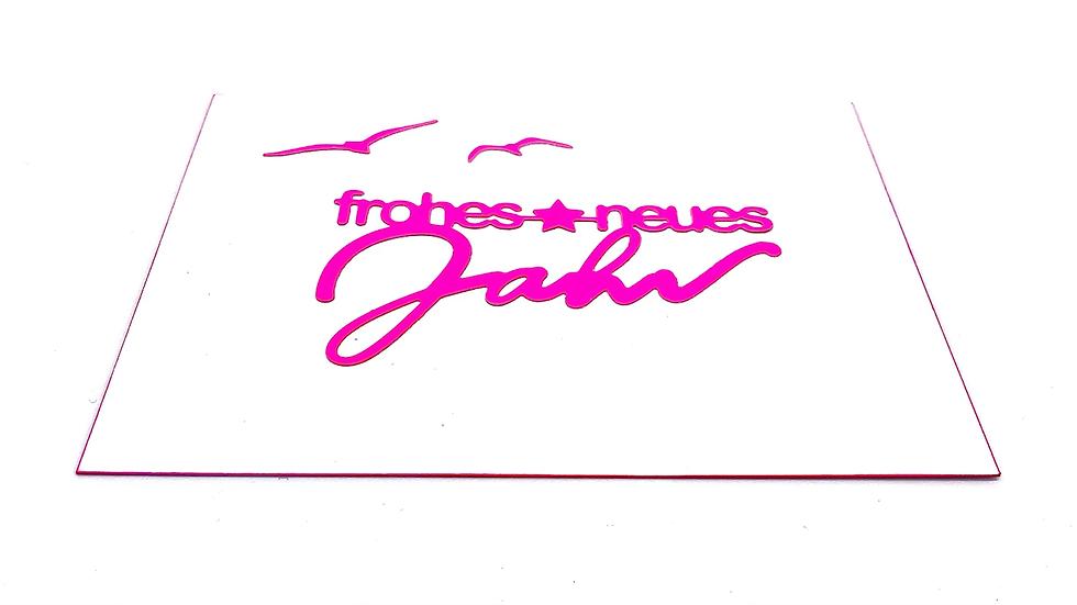 Postkarte Neujahr Neon Knallfarben mit Stanzform