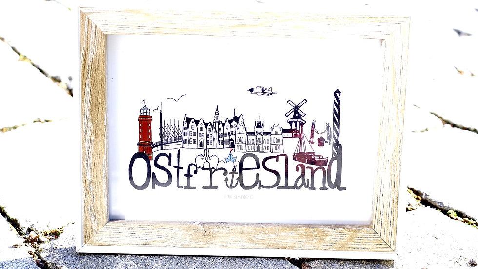 Postkarte Ostfriesland Skyline