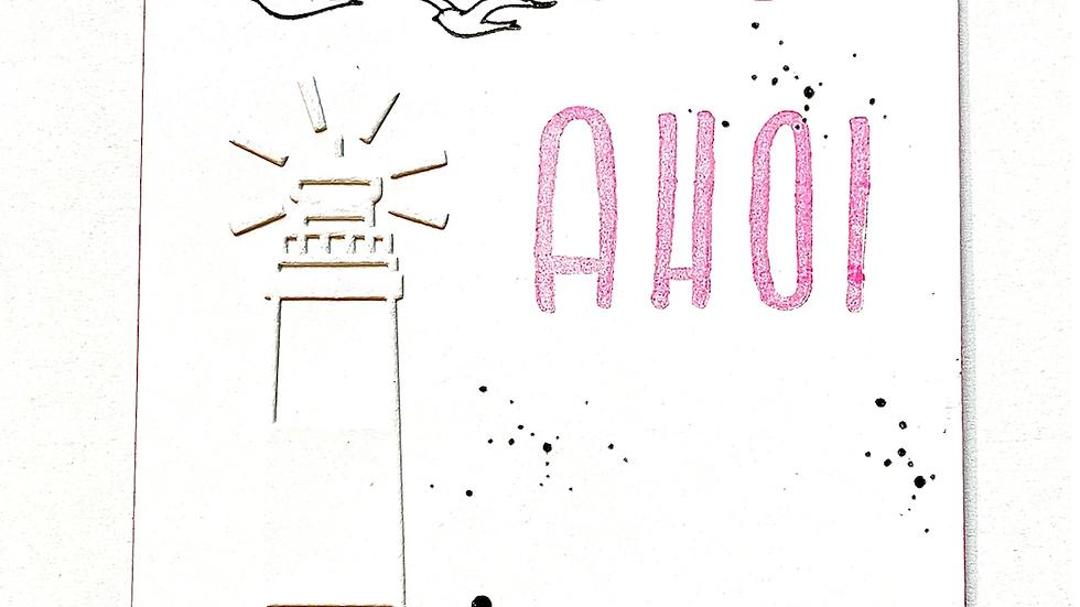 Postkarte GLÜCK AHOI Neon mit Stanzform