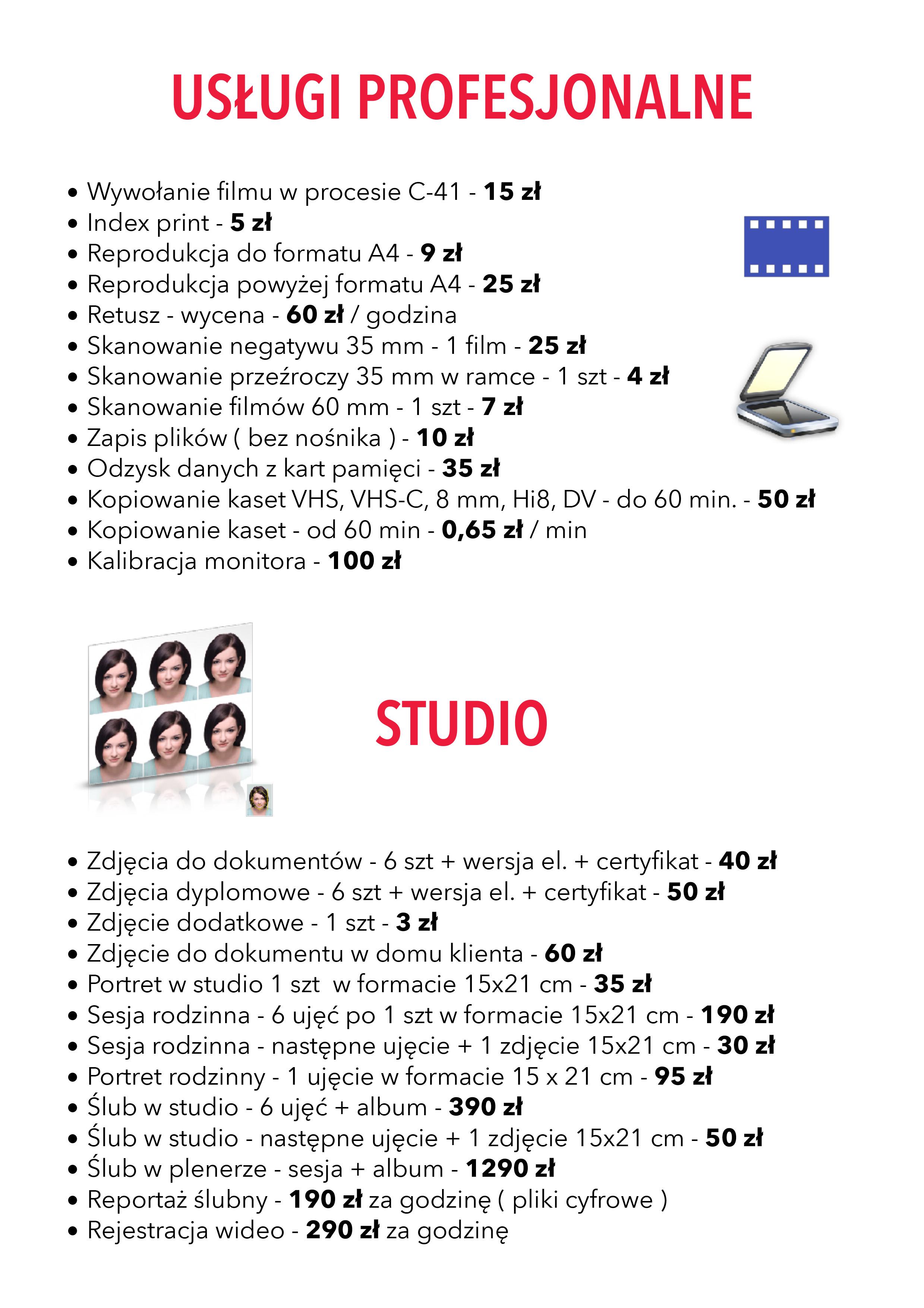 WPS Fotoland-cennik studio